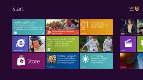 The upcoming start menu in Windows 8 from Microsoft
